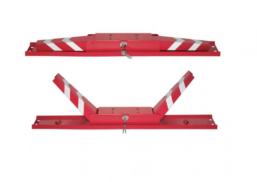 Барьер используемый на парковках в сложенном и разложенном состоянии